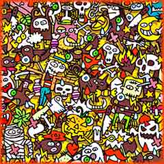 Mobile - PC Group of  Halloween doodle jigsaw puzzle