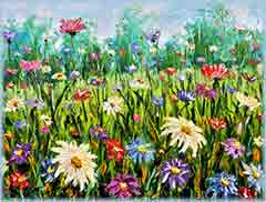 Mobile - PC Group of  art field of flowers jigsaw puzzle
