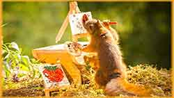 Mobile - PC artist squirrel jigsaw puzzle