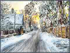 Mobile - PC country winter painting jigsaw puzzle