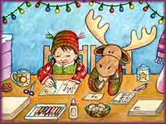 Mobile - PC girl moose making cards jigsaw puzzle