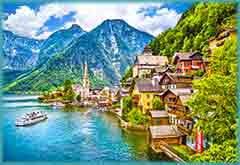Mobile - PC hallstatt_mountain_and_lake jigsaw puzzle