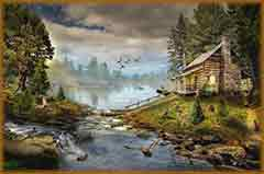 Mobile - PC house by creek jigsaw puzzle