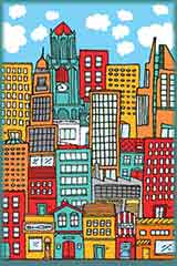 illustration city buildings jigsaw puzzle