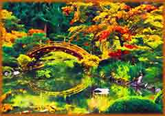 Mobile - PC Group of  japanese garden over pond jigsaw puzzle