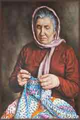 old woman crocheting jigsaw puzzle