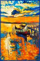 sunset boat and jetty jigsaw puzzle