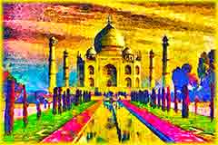 Mobile - PC taj mahal painting jigsaw puzzle
